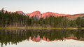 Hallett Peak Reflection, Sprague Lake, Rocky Mountain National P Royalty Free Stock Image - 84499416