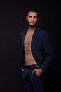 Man Shirtless Abs Suit Jacket Sexy Looking Royalty Free Stock Photos - 84500638