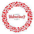 Red Hearts Circle Frame Valentines Day Design Vector Card Background Stock Image - 84516091