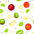Seamless Vector Pattern Of Ripe Apple And Kiwi Fruit. White Background With Delicious Juicy Kiwifruits  Apples Slice Stock Images - 84526514
