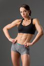 Beautiful Fit Girl In Sport Bra And Shorts Royalty Free Stock Images - 84527349