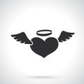 Silhouette Of Angel Heart With Wings Stock Image - 84530361