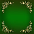 Green Frame With Golden Floral Corner Ornament Royalty Free Stock Image - 84536596