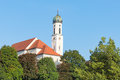 Tranquil Bavarian Scenery In Small Town Schongau With Ancient Church Stock Photo - 84542520