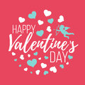 Happy Valentines Day Cards With Hearts, Angel And Arrow. Isolate Royalty Free Stock Images - 84546009