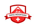 Vector Red Logo Of Swiss Mountains Royalty Free Stock Photography - 84549267
