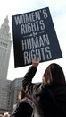 Woman Holding Sign At Women`s March In Cleveland, Ohio, USA On January 21, 2017 Stock Image - 84554631