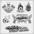 Street Racing Emblems, Labels, Badges And Design Elements. Vintage Style. Stock Images - 84558284