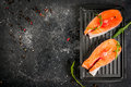 Raw Salmon Steaks Royalty Free Stock Photography - 84560177