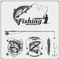 Set Of Retro Fishing Labels, Badges, Emblems And Design Elements. Vintage Style Design. Stock Photos - 84562703