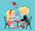 Cute Girl And Boy In Cafe. Valentine`s Day. Love Card. Stock Images - 84569564