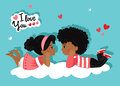 Valentine`s Day. Loving Girl And Boy Looking At Each Other. Love Card. Stock Photo - 84569740