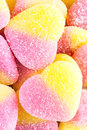 Background Of Yellow And Pink Fruit Candy In Shape Of Heart, Clo Royalty Free Stock Photos - 84589888