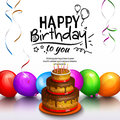 Happy Birthday Greeting Card. Party Multicolored Balloons, Cake, Streamers And Stilish Lettering. Vector. Stock Images - 84593414