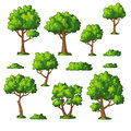 Illustration Of Some Trees And Bushes Stock Image - 84594851
