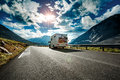 Caravan Car Travels On The Highway. Stock Photography - 84597332