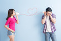 Young Couple With Can Phone Royalty Free Stock Image - 84599106