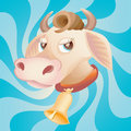 Cow Head With Bell On Blue Royalty Free Stock Photography - 8465917