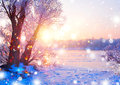 Beautiful Winter Landscape Scene With Ice River Royalty Free Stock Photography - 84606857