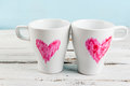 Couple Coffee Mugs With Hearts Painted With Lipstick Royalty Free Stock Photography - 84611527