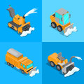 Isometric Snow Removal Transportation Set With Snowplow Truck And Tractor Royalty Free Stock Photos - 84617678