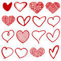 Vintage Outline Hand Drawn Sketchy Vector Hearts Royalty Free Stock Photo - 84637695
