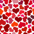 Seamless Pattern With Red Hearts. Swirling Red Hearts On A White Background. Stock Photography - 84642072