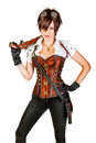 Beautiful Steampunk Woman Wearing Vintage Corset And Retro Goggl Royalty Free Stock Photo - 84642835