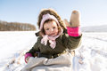 Cute Little Girl Outside In Winter Nature, Sitting On Sledge Royalty Free Stock Photo - 84642955