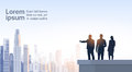 Business People Group Silhouettes On Office Building Roof Over City Landscape Stock Photos - 84646103