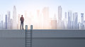 Business Man Silhouette On Office Building Roof Over Modern City Landscape Stock Images - 84646804