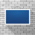 Vector Mockup. Simple Blue Sign Hanging On A Gray Brick Wall. White Rectangular Frame.  Royalty Free Stock Image - 84647216
