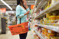 Woman With Food Basket At Grocery Or Supermarket Stock Photography - 84647222