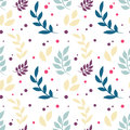 Elegant Floral Seamless Pattern With Plants, Leaves, Dots Royalty Free Stock Photo - 84647335