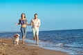 Portrait Of A Happy Couple With Dogs At The Beach Royalty Free Stock Images - 84648559