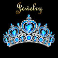 Female Crown, Tiara, With Blue Precious Stones Stock Image - 84654161