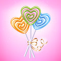 Heart Lollipop Candies Vector Illustration. Royalty Free Stock Photos - 84655098