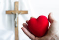 Giving Heart To Jesus Abstract Concept With Easter Cross Royalty Free Stock Photo - 84679835