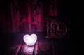 Valentine&x27;s Day Composition With Sweet Burning Multicolored Heart On Dark Background And Old Vintage Clock, Time And Love Royalty Free Stock Photography - 84688407