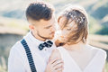 Bride And Groom Hugging At The Wedding In Nature. Stock Photo - 84689380