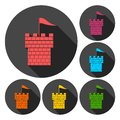 Castle Tower Icons Set With Long Shadow Royalty Free Stock Photo - 84691125