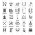 Knitting, Crochet, Hand Made Line Icons Set. Knitting Needle, Hook, Scarf, Socks, Pattern, Wool Skeins And Other DIY Stock Photography - 84709302