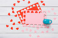 Valentine Day Card, Craft Scrapbooking Background, Hole Punch Heart Form Royalty Free Stock Photos - 84721348