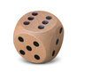 Single Wooden Dice On White Background Royalty Free Stock Images - 84725399