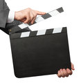 Hands Holding Blank Clapper Board Stock Photography - 84727022