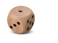 Single Wooden Dice On White Background Royalty Free Stock Photos - 84730668