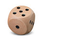 Single Wooden Dice On White Background Royalty Free Stock Photo - 84731445