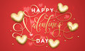 Happy Valentine Day Golden Hearts Pattern Greeting Card Stock Photo - 84740470