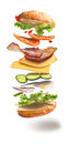 Hamburger With Flying Ingredients Stock Image - 84741271