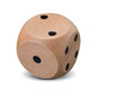 Single Wooden Dice On White Background Royalty Free Stock Photos - 84748928